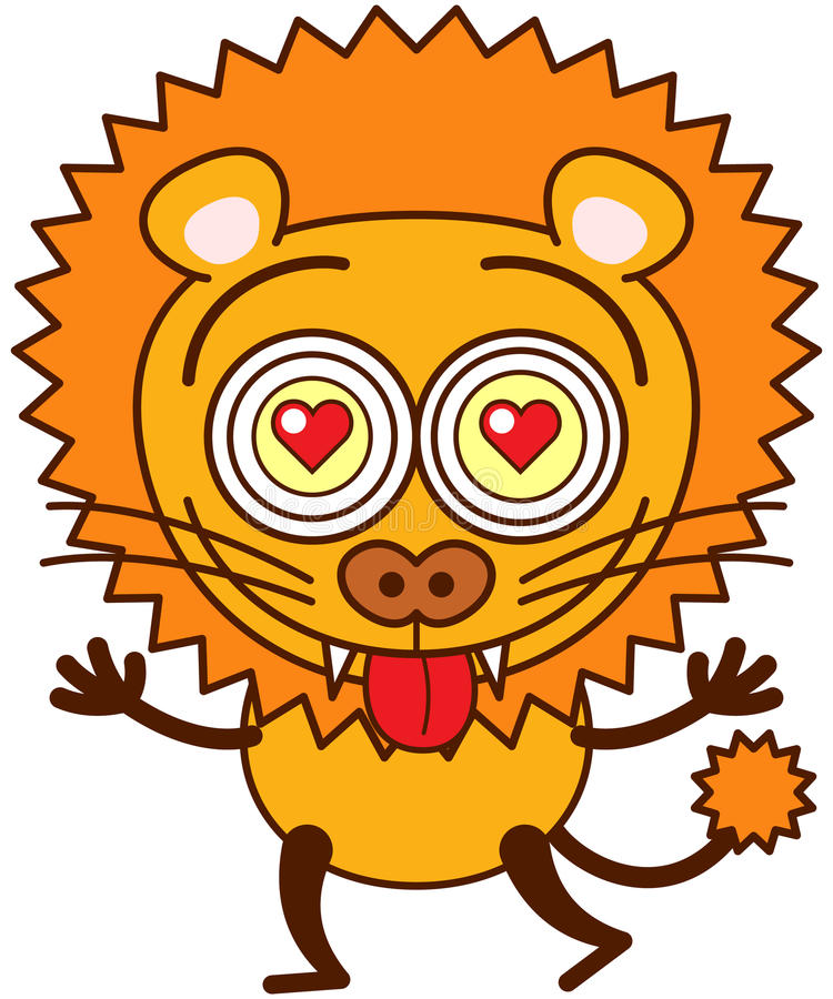Храбрый лев чувствуя сумашедше в влюбленности иллюстрация штока
