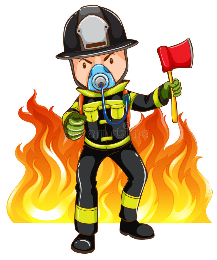 Храбрый пожарный иллюстрация штока
