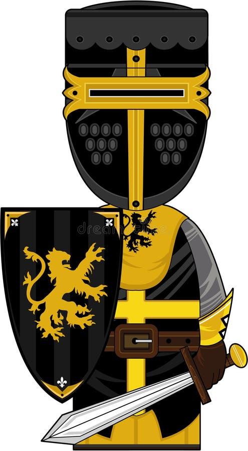 Храбрый средневековый рыцарь крестоносца шаржа иллюстрация штока