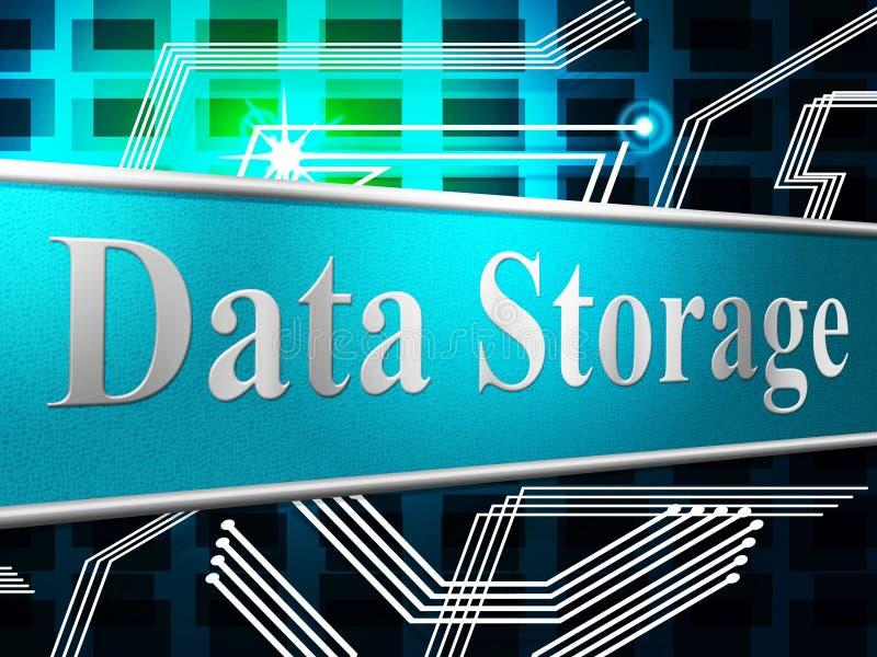 Хранение данных показывает жесткий диск и компьютер бесплатная иллюстрация