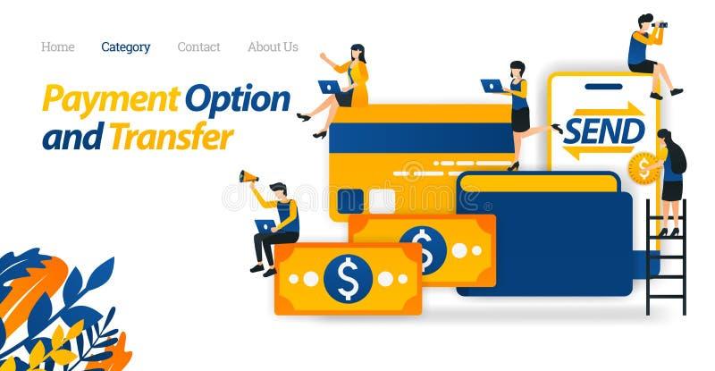Хранение значка, передача и варианты оплаты с деньгами, бумажниками, кредитными карточками и чернью Иллюстрация вектора, плоская  иллюстрация вектора