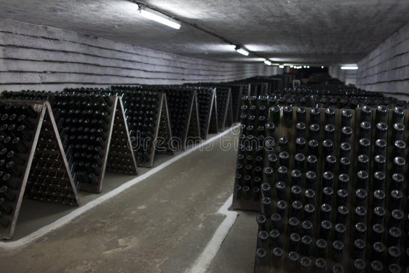 Хранение игристого вина в винном погребе стоковая фотография rf