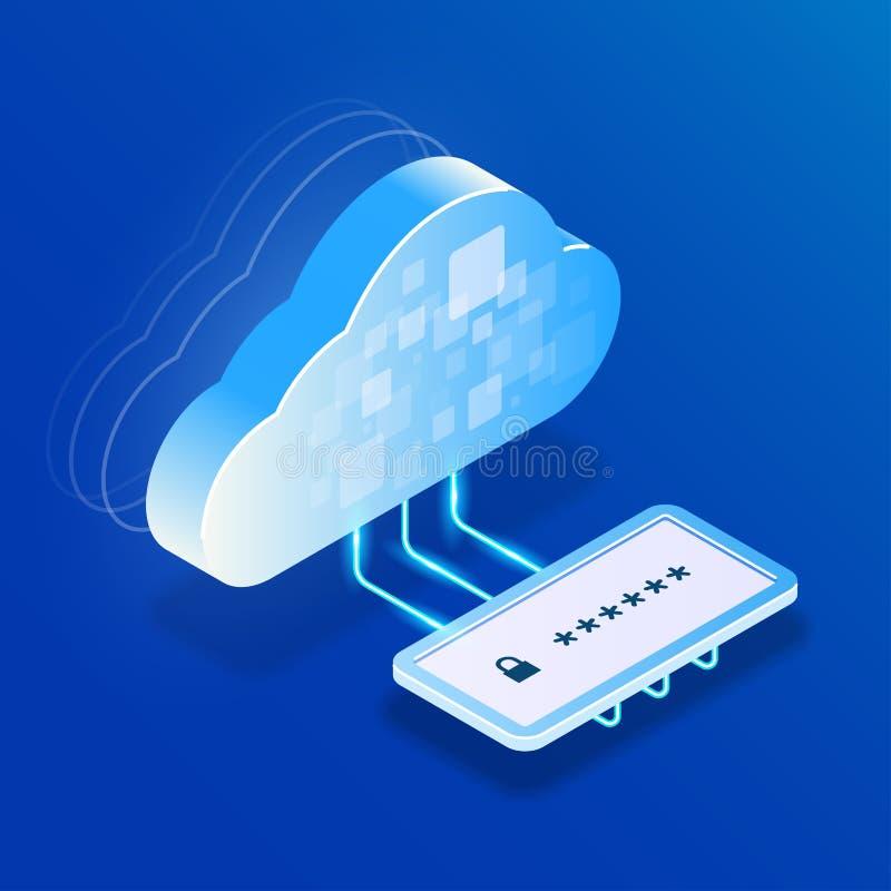 Хранение облака безопасности или вычислять доступ к данным после входа личного пароля Иллюстрация 3d вектора равновеликая плоская иллюстрация штока