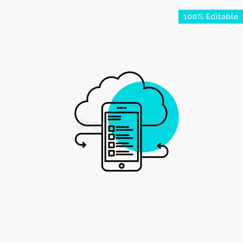 Хранение облака, дело, хранение облака, облака, информация, чернь, значок вектора пункта круга самого интересного бирюзы безопасн иллюстрация вектора