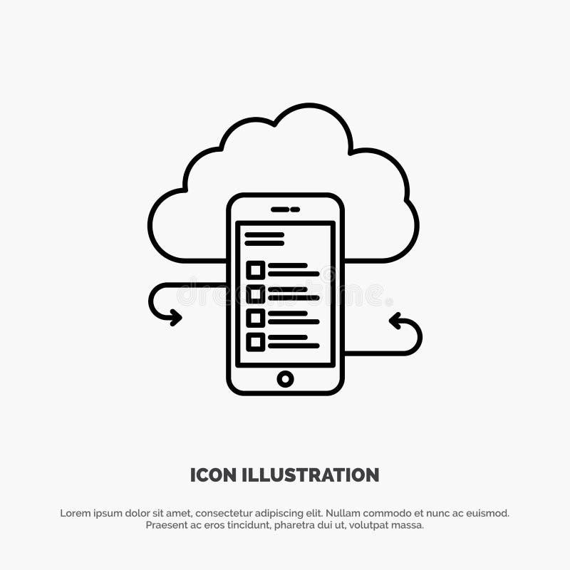 Хранение облака, дело, хранение облака, облака, информация, чернь, линия вектор безопасности значка иллюстрация вектора
