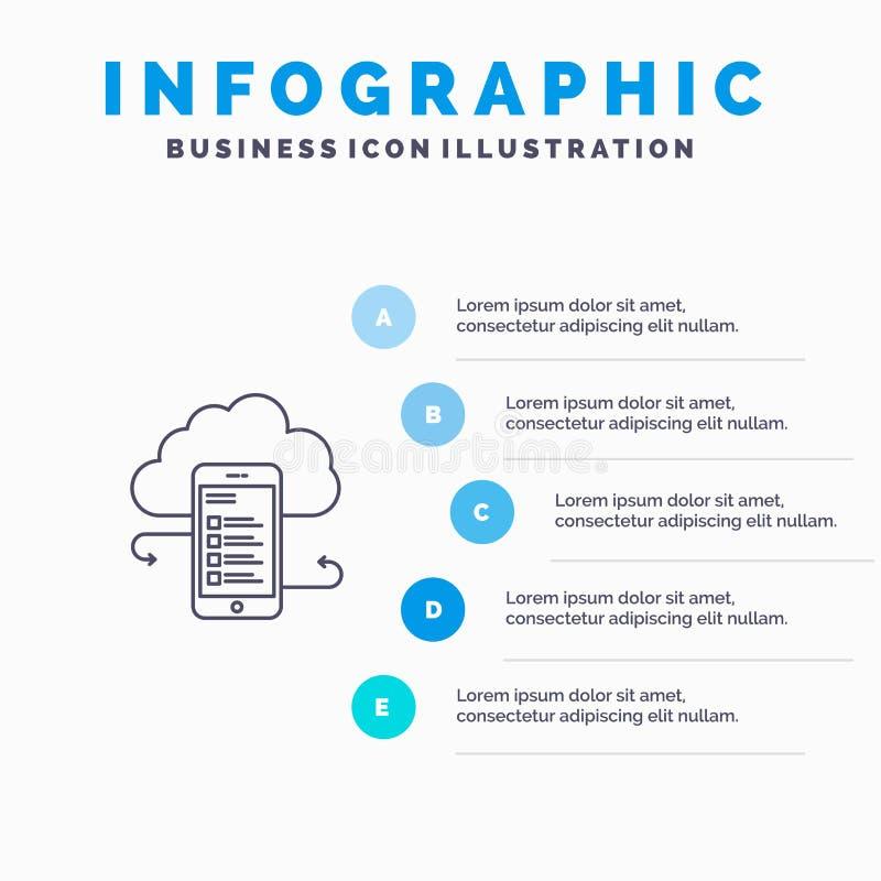 Хранение облака, дело, хранение облака, облака, информация, чернь, линия значок безопасности с infographics представления 5 шагов бесплатная иллюстрация
