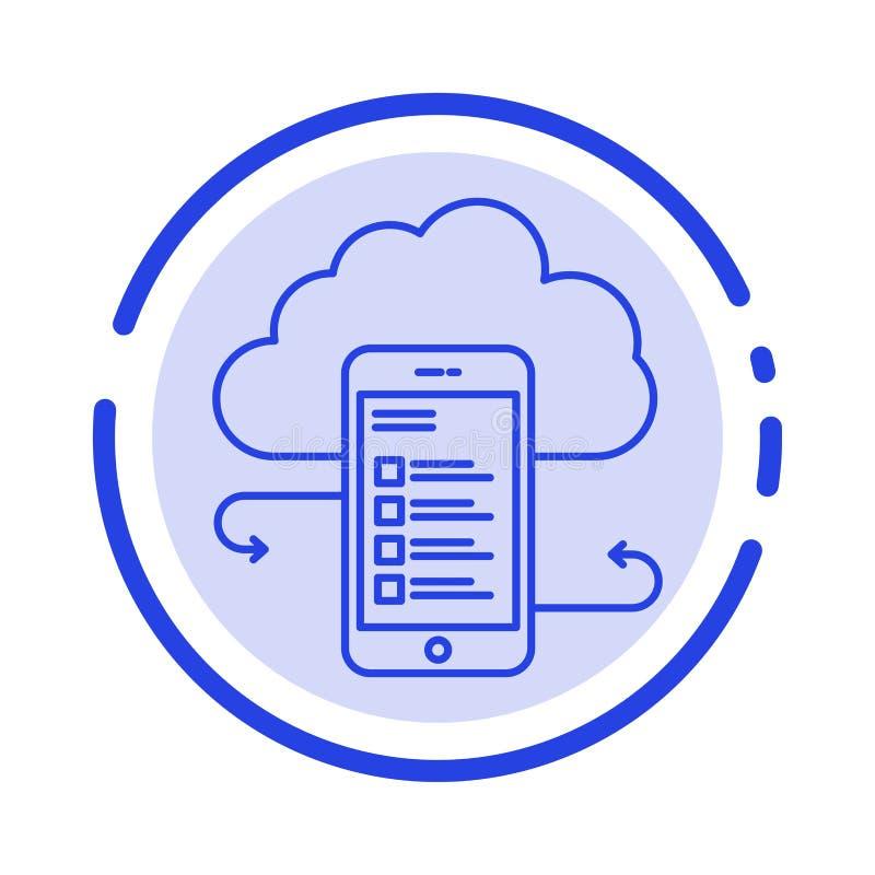 Хранение облака, дело, хранение облака, облака, информация, чернь, линия значок голубой пунктирной линии безопасности иллюстрация штока