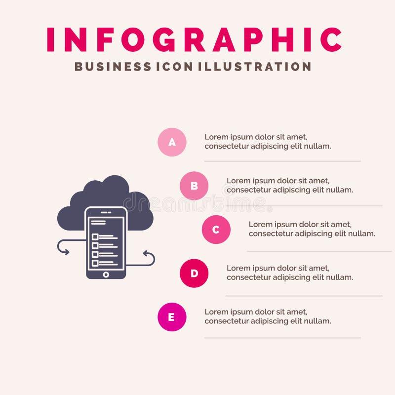 Хранение облака, дело, хранение облака, облака, информация, чернь, представление шагов Infographics 5 значка безопасности твердое иллюстрация вектора