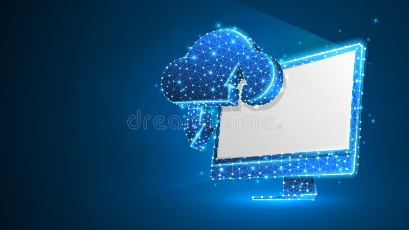 Хранение облака на белом мониторе компьютера Доступ, коммерческая информация, концепция сервера интернета Конспект, цифровой, wir иллюстрация вектора