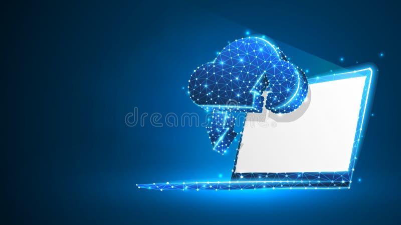 Хранение облака на белом экране ноутбука Доступ, коммерческая информация, концепция сервера интернета Конспект, цифровой, wirefra иллюстрация вектора