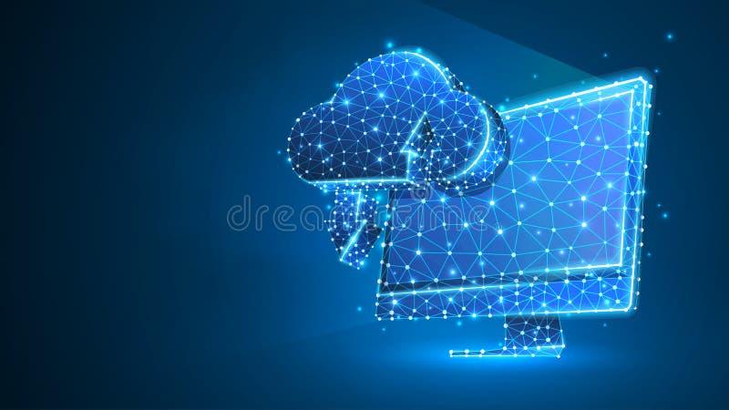 Хранение облака на мониторе компьютера Доступ, коммерческая информация, концепция сервера интернета Конспект, цифровой, wireframe иллюстрация вектора