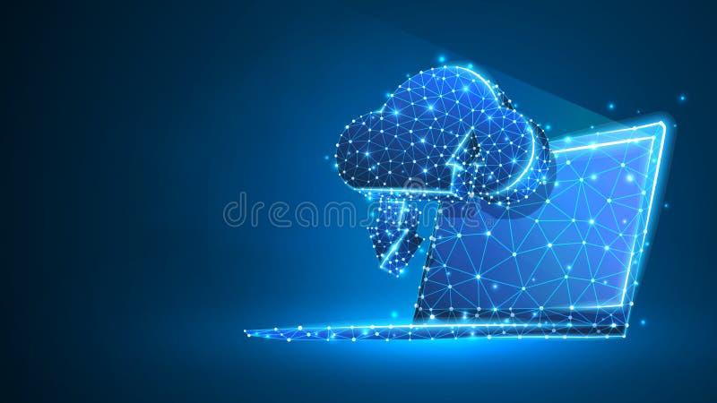 Хранение облака на экране ноутбука Доступ, коммерческая информация, концепция сервера интернета Конспект, цифровой, wireframe, ни иллюстрация штока