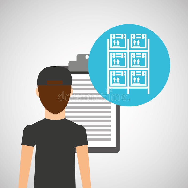 Хранение шкафов проверяя коробок поставки человека иллюстрация вектора