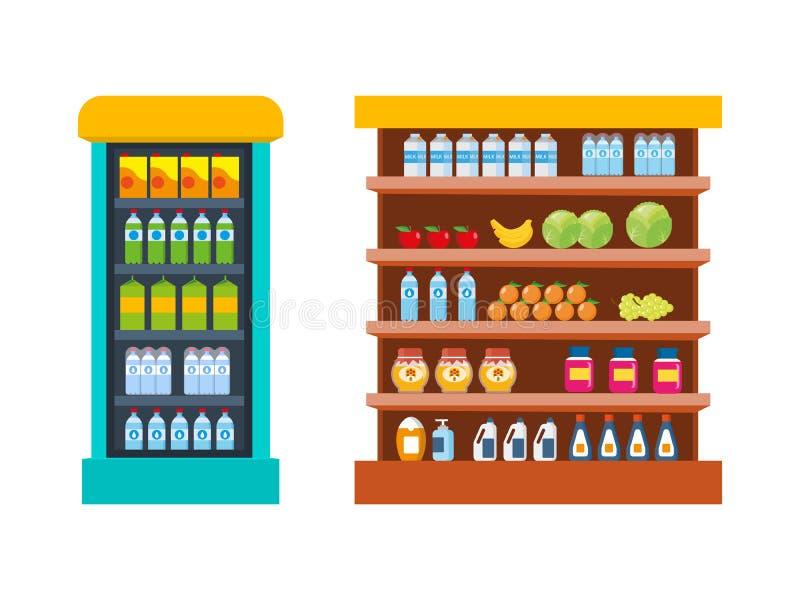 Храните продукты питания, торговый центр, счетчик с едой - овощами, плодоовощами иллюстрация штока