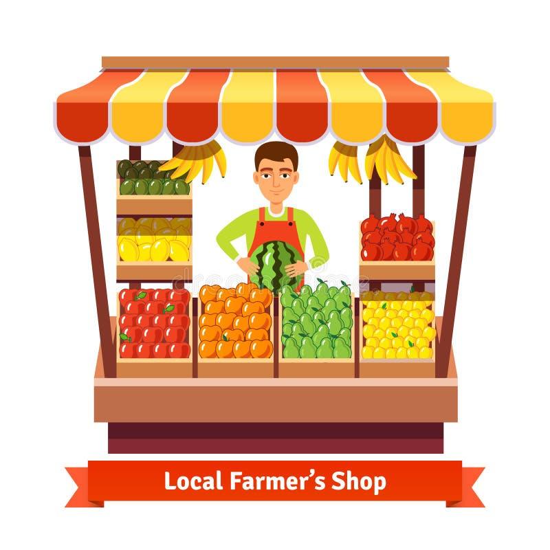 Хранитель магазина продукции местного фермера иллюстрация штока