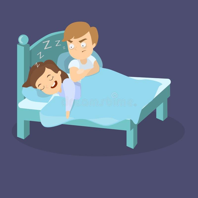Храпя жена в кровати иллюстрация штока
