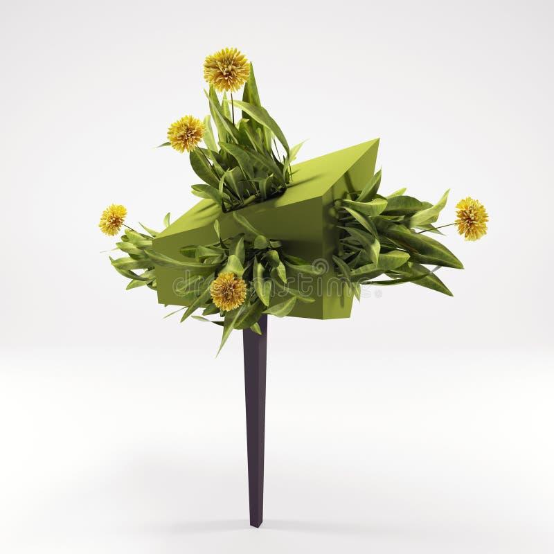 3 хризантемы желтого цвета d на дереве зеленого цвета концепции стоковые изображения