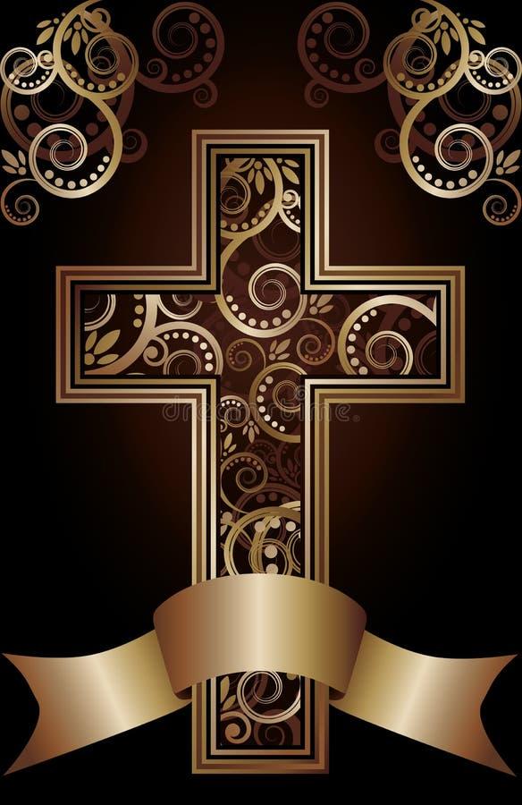 Христианская перекрестная карточка иллюстрация штока