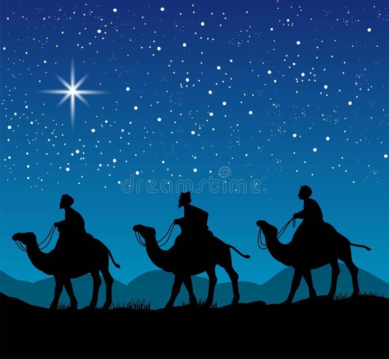 Христианская сцена рождества с 3 мудрецами иллюстрация вектора