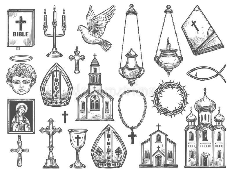 Христианская церковь вероисповедания, библия, значок бога, крест иллюстрация вектора