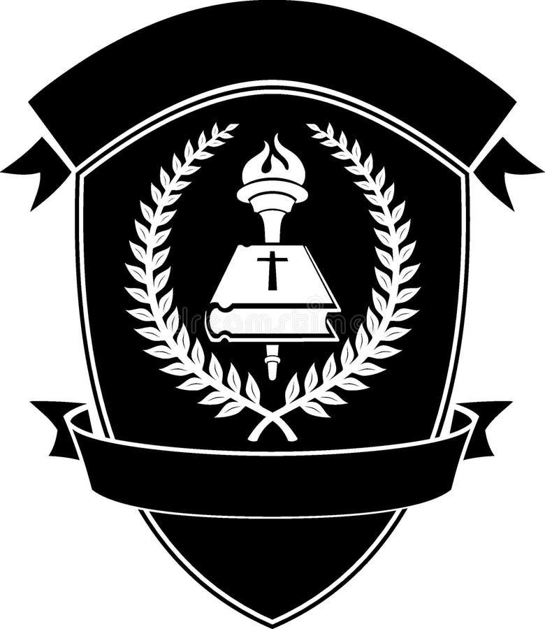 Христианская эмблема экрана школы иллюстрация штока