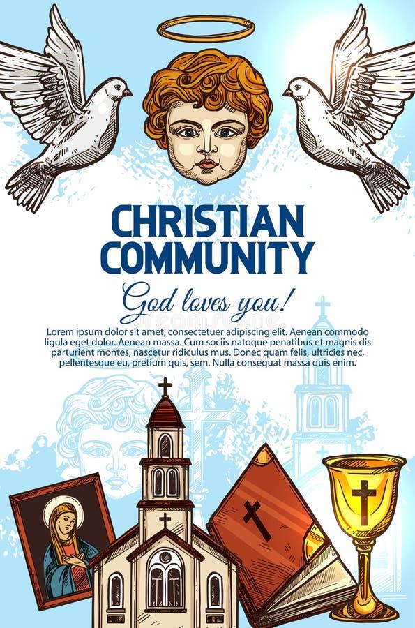 Христианские католическая церковь, библия, ангел и значок бесплатная иллюстрация