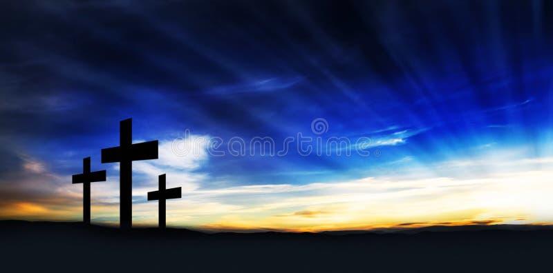 Христианские кресты на холме стоковые фотографии rf