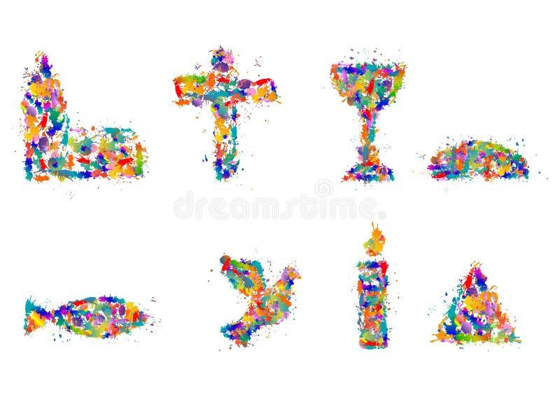 христианские символы иллюстрация вектора