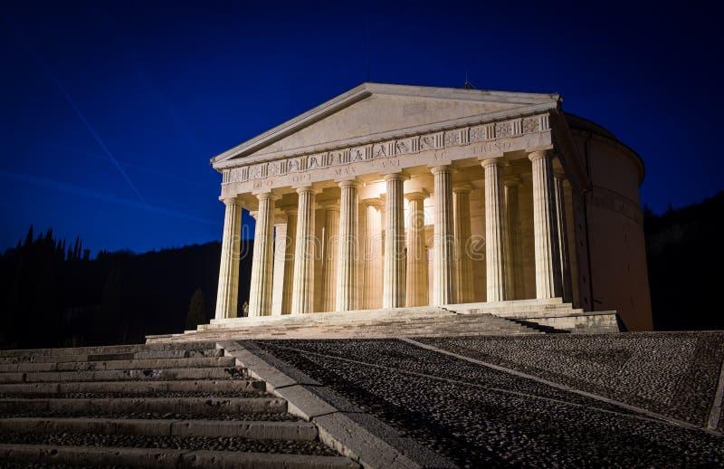 Христианский висок Антонио Canova Римская и греческая религиозная архитектура, строящ как пантеон и Парфенон церковь Италия стоковые фотографии rf