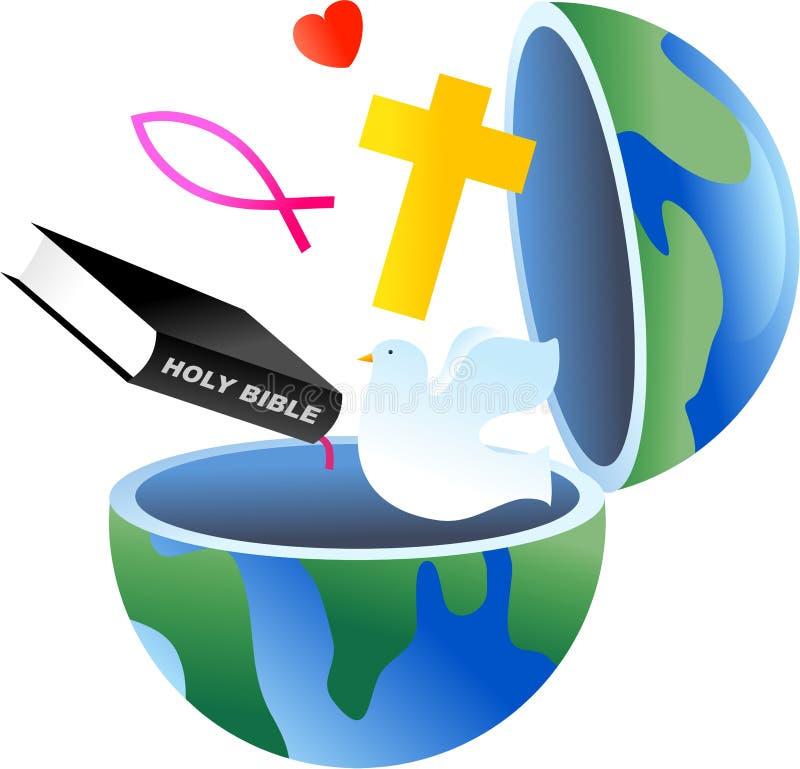 христианский глобус иллюстрация вектора