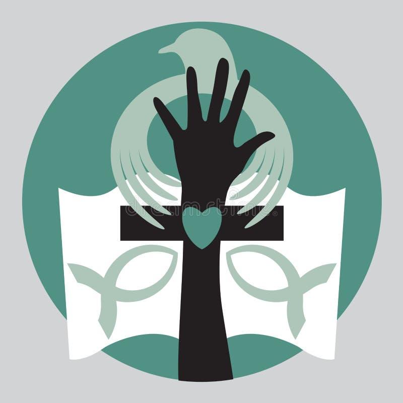 Христианский голубь библии с перекрестным логотипом иллюстрация вектора