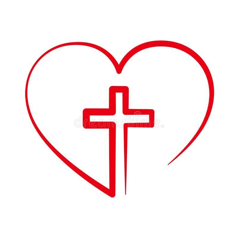 Христианский крест внутрь в сердце также вектор иллюстрации притяжки corel бесплатная иллюстрация