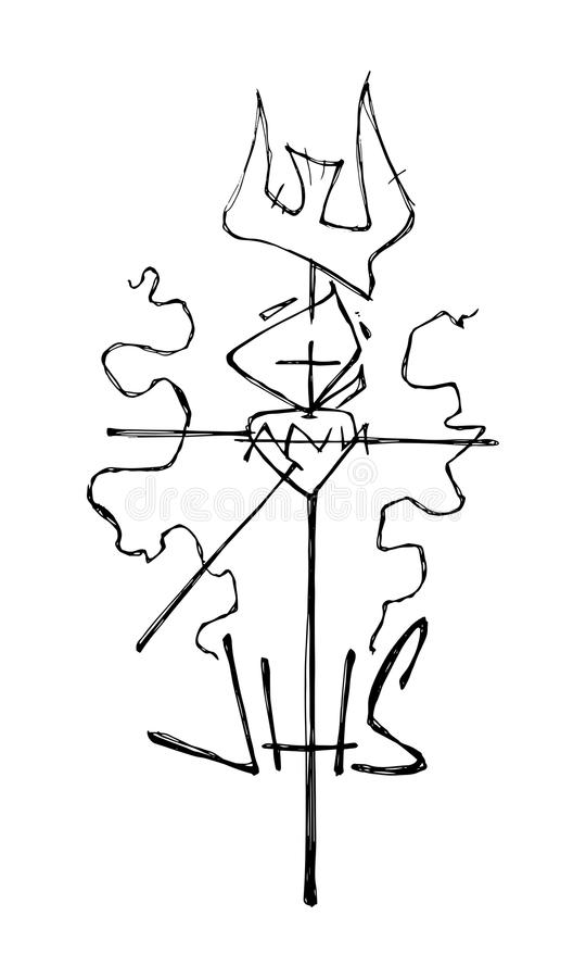 Христианский крест и религиозные символы иллюстрация штока
