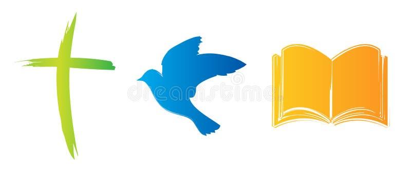 Христианский набор значка с крестом, голубем и библией бесплатная иллюстрация
