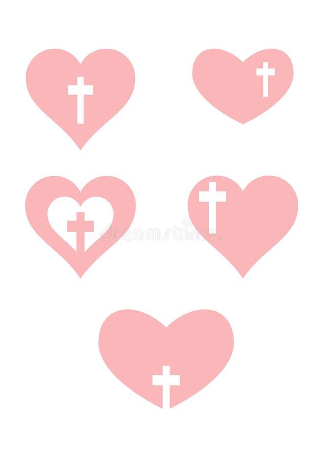 христианский перекрестный пинк сердца иллюстрация вектора