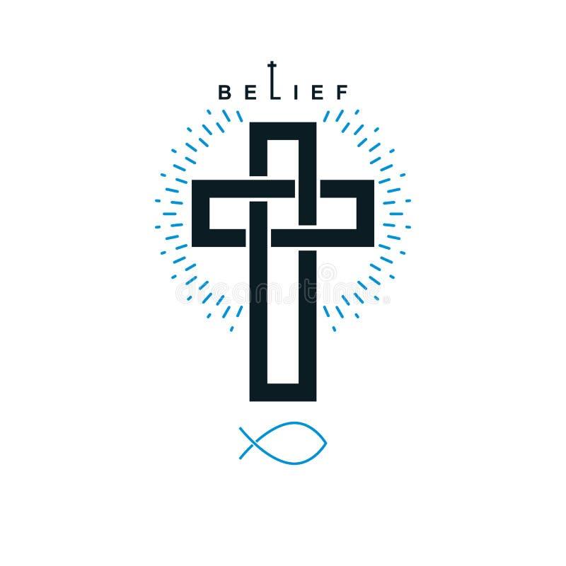 Христианский перекрестный символ вектора иллюстрация вектора