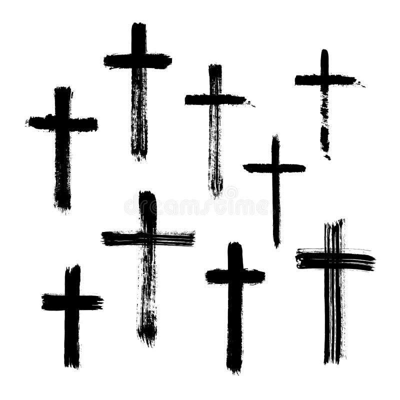 Христианский религиозный крест символа покрашенный щеткой стоковые изображения