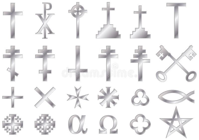 Христианский религиозный серебр символов стоковое изображение rf