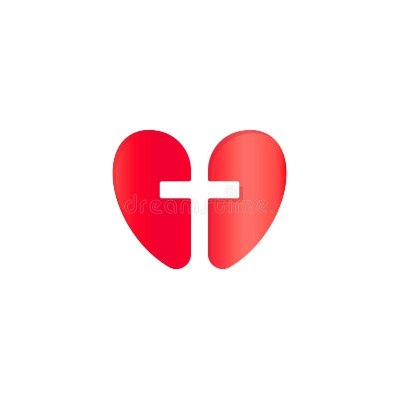 Христианский символ, перекрестный отрицательный силуэт космоса в красном сердце, значке концепции вектора Логотип вероисповедания иллюстрация вектора