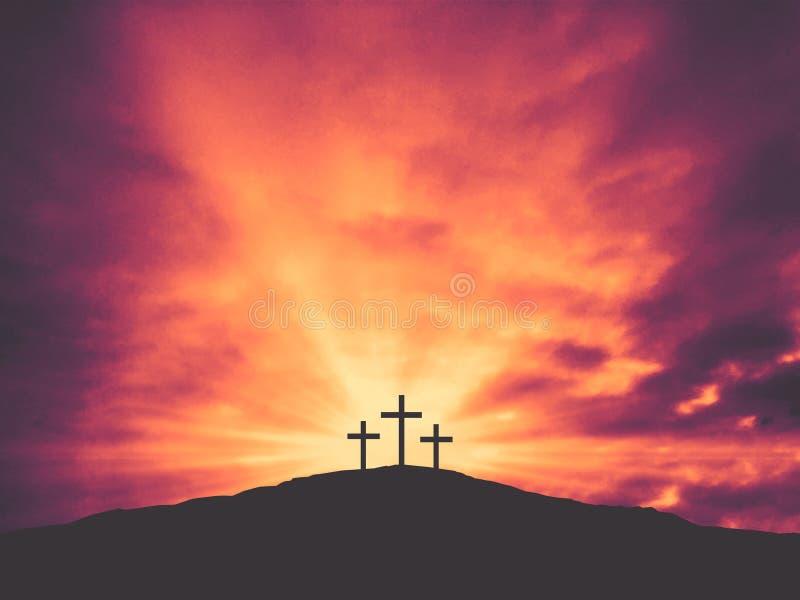 3 христианских креста пасхи на холме Голгофы с красочными облаками в небе иллюстрация штока
