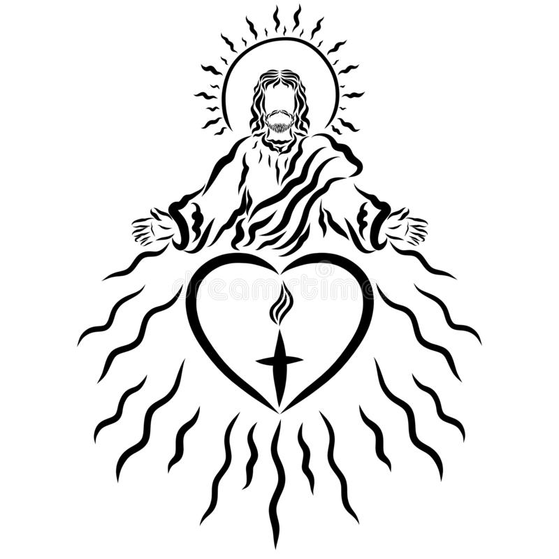 Христос дает людям подарок спасения и свет поднимает иллюстрация вектора