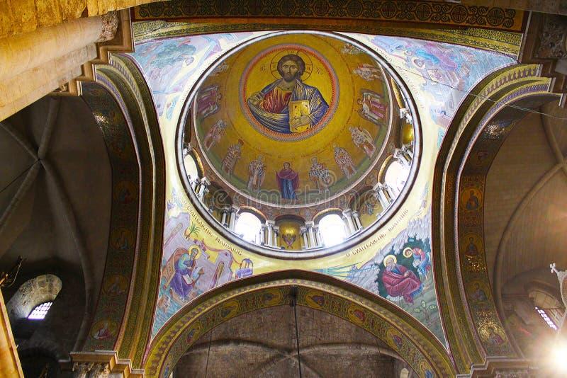 Христос Pantokrator в церков святого Sepulchre, усыпальница Христос, в старом городе Иерусалима, Израиль стоковое изображение rf