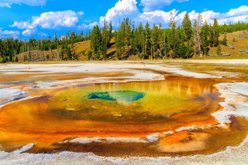 Хроматичный бассейн, национальный парк Йеллоустона, верхний таз гейзера стоковая фотография