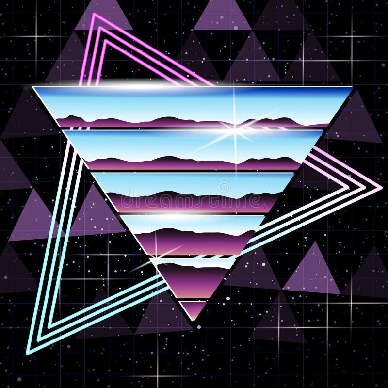 Хром Retrofuturistic и предпосылка неона иллюстрация вектора