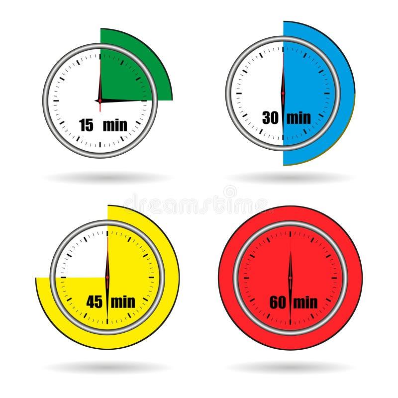 Хронометрируйте время секундомера значков от 15 минут к вектору 60 минут иллюстрация вектора