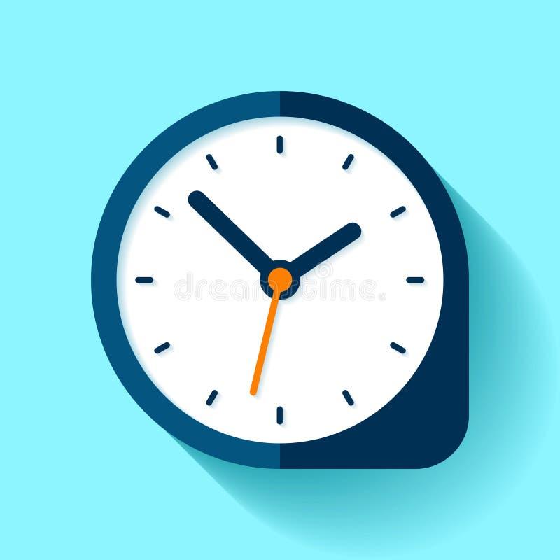 Хронометрируйте значок в плоском стиле, круглый таймер на голубой предпосылке Простой вахта дела Элемент дизайна вектора для вас  иллюстрация штока