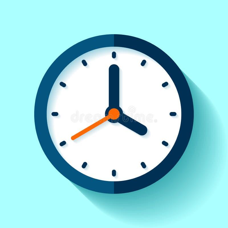 Хронометрируйте значок в плоском стиле, круглый таймер на голубой предпосылке Часы ` 4 o Простой вахта Элемент дизайна вектора дл бесплатная иллюстрация