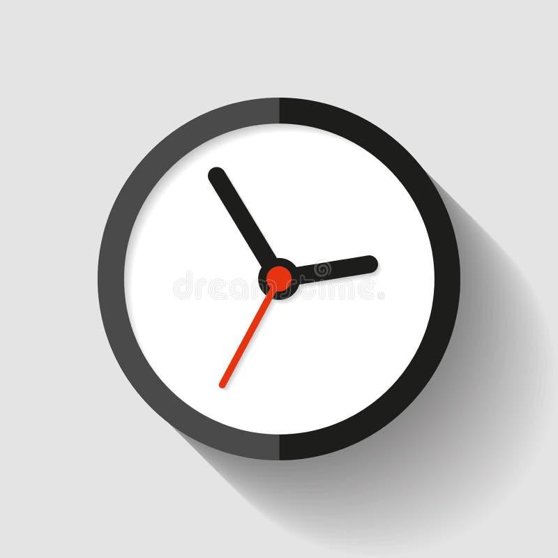 Хронометрируйте значок в плоском стиле, круглый таймер на светлой предпосылке Простой вахта дела Элемент дизайна вектора для вас  иллюстрация штока