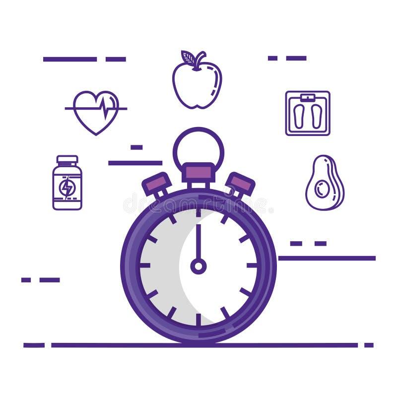 Хронометр с значками образа жизни фитнеса установленными бесплатная иллюстрация