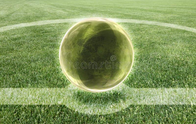 Хрустальный шар в середине футбольного поля - прогноз изображения концепции результата стоковые изображения
